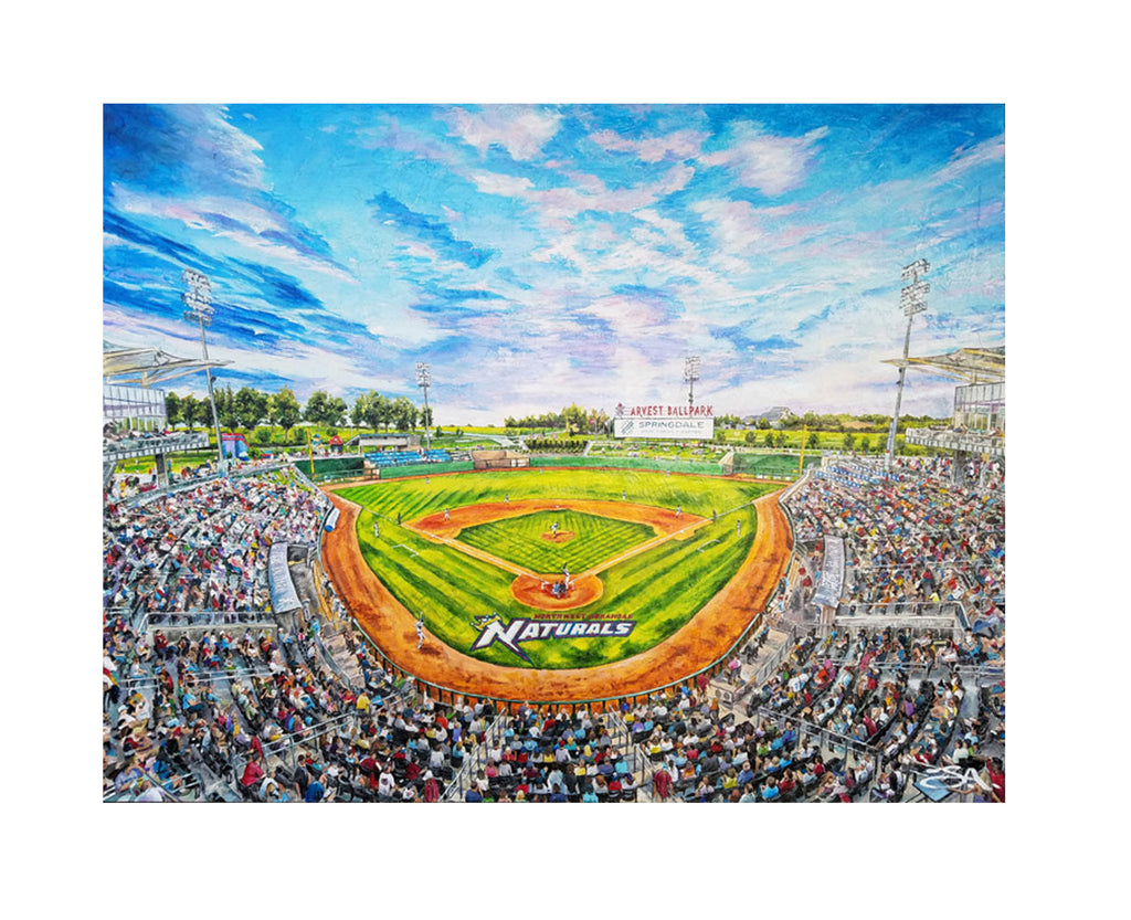 "Larger - 32"" X 24"" Arvest Ballpark - ""Best of Springdale Art Series"""