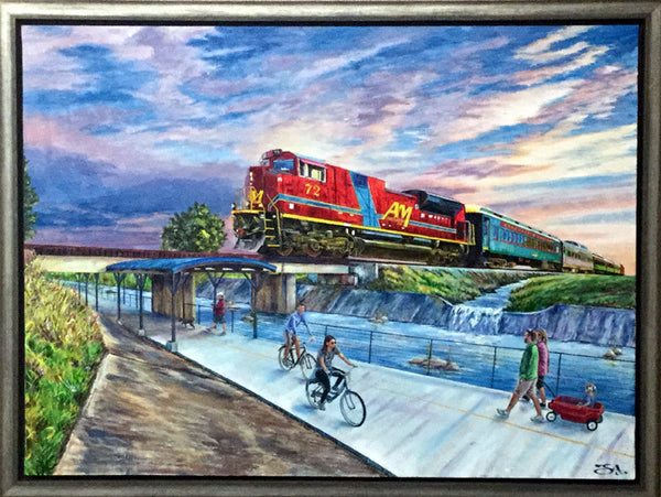 "Larger - 32"" X 24"" Arkansas & Missouri Railroad - ""Best of Springdale Art Series"""