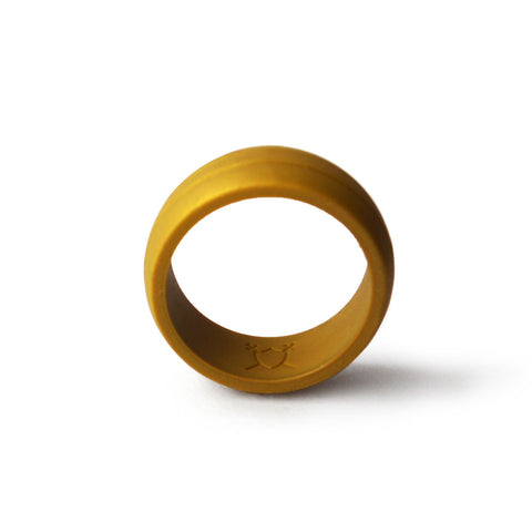 Men S Double Debossed Silicone Wedding Ring Gold Komfortringz