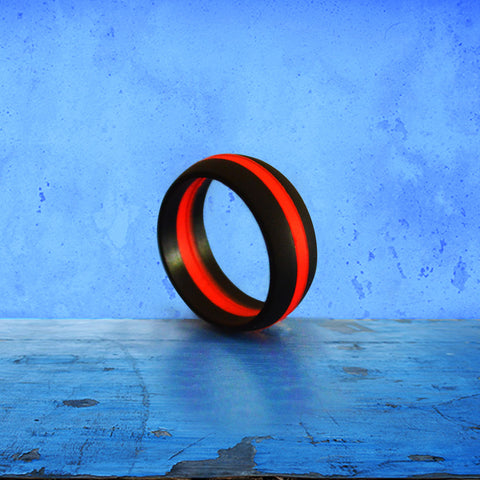 Mens BLACKTHIN RED LINE Silicone Wedding Ring KomFortRingZ