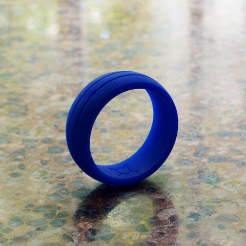 Men S Double Debossed Silicone Wedding Ring Royal Blue Komfortringz