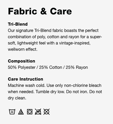 American Apparel TR301 W Fabric and Care