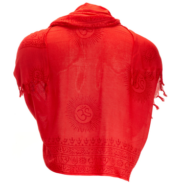 ॐ Ganesha Prayer Shawl - Coral Red