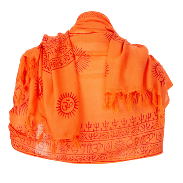 ॐ Shiva Nataraj Prayer Shawl - Orange
