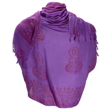 ॐ Buddha Prayer Shawl - Dark Purple