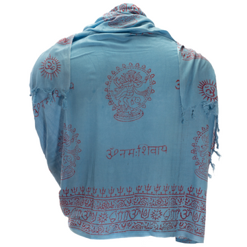 ॐ OM Prayer Shawl - Sky Blue