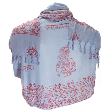 ॐ Krishna Prayer Shawl - Hydrangea Blue