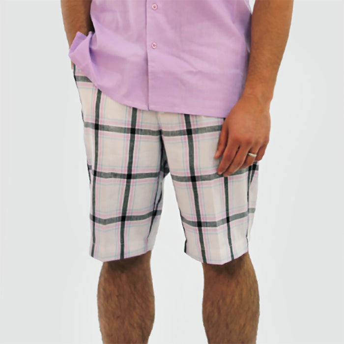 Linen Blend Plaid Shorts