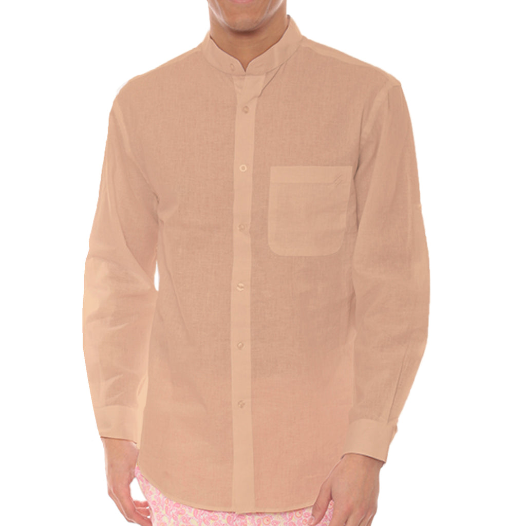 Long Sleeve Band Collar Linen Shirt