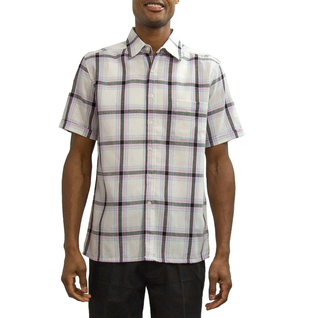 Short Sleeve Linen Blend Plaid Shirt