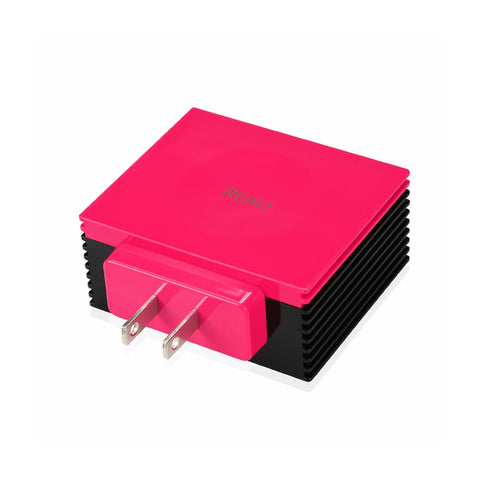 REIKO 4 AMP FOUR PORTS PORTABLE TRAVEL STATION CHARGER IN HOT PINK