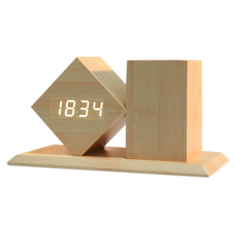 Sound Control Wooden LED Digital Alarm Clock Pen Holder with Temperature