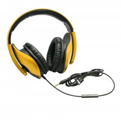 Oblanc SHELL200 Lightweight and Comfortable Fit Audio Headphones with In-line Microphone Golden Color