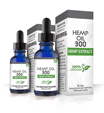 Hemp Oil 300 Droppers,  2 Pack - 600mg Total