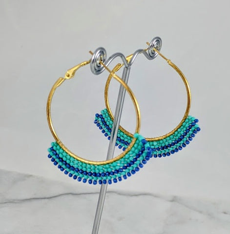 Aqua Beaded, Gold Hoop