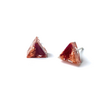 Resin Pink & Copper Triangle Earring