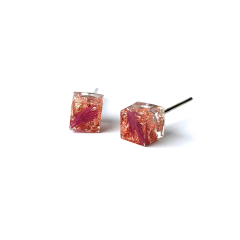 Resin Pink and Copper Cube Earring
