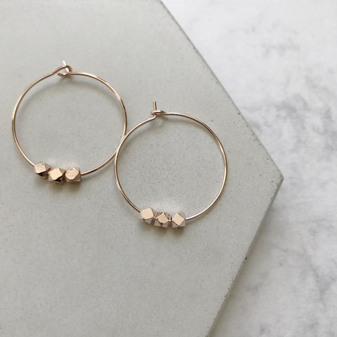 Rose Gold Beaded Hoop Earrings