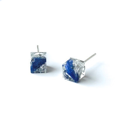 Resin Blue and Silver Cube Earring