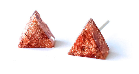 Resin Copper Triangle Earring