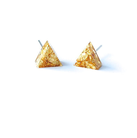 Resin Gold Triangle Earring