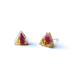 Resin Pink & Gold Triangle Earring