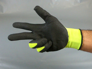 Nitrile Sandy Fluorescent Green Polyester Glove ( touch-screen)  Size L  144pairs