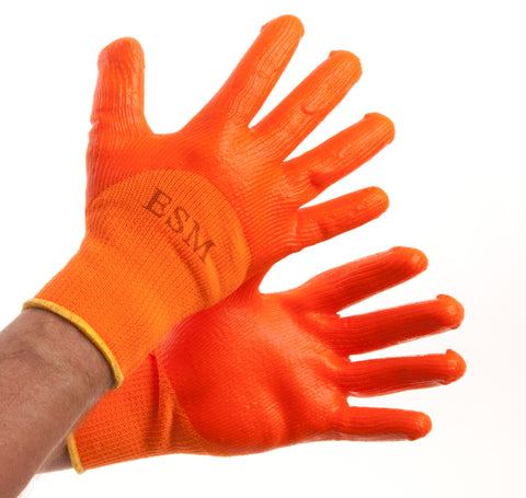 Economy Winter Work Gloves, Orange w/ PVC Coating 100 pairs