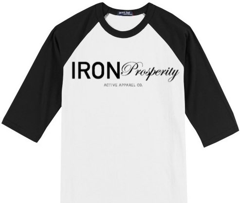 Iron Prosperity Font Raglan- White/Black
