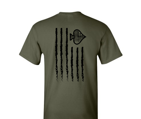 Tattered Flag Short Sleeve - Military Green