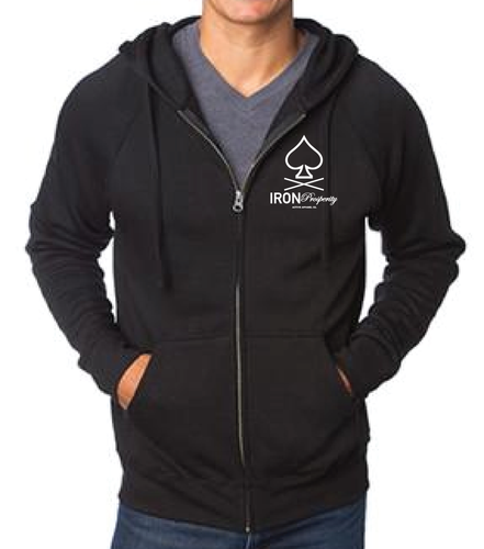 Spade Zip Up Fleece Hoodie - Black