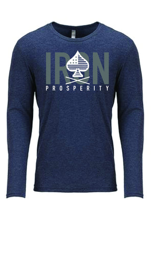 Unisex Conquer Long Sleeve Tee - Heather Blue