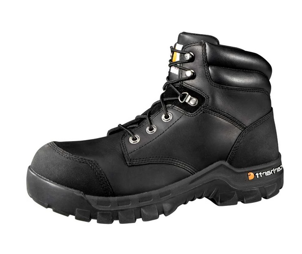 Carhartt Men's Rugged Flex Waterproof Work Boot CMF 6371 Composite Toe 6 inch Black