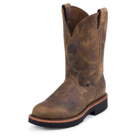 JUSTIN MEN'S RUGGED TAN GAUCHO J-MAX® STEEL TOE WORK BOOTS 4441 (FREE SHIPPING)