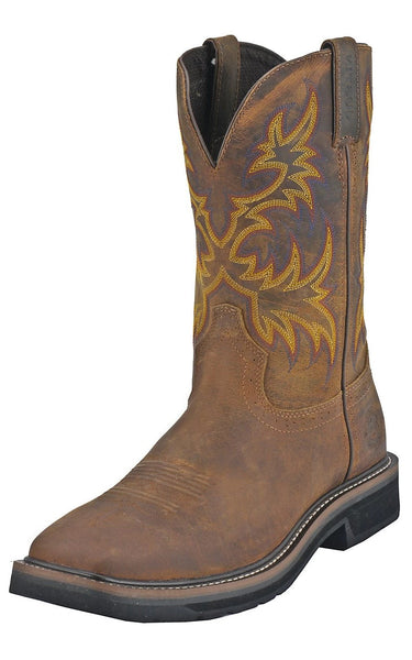 JUSTIN MEN'S RUGGED TAN COWHIDE STAMPEDE WORK BOOTS WK4681