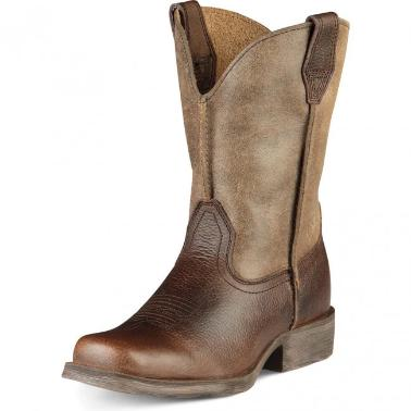 brown and tan square toe boot