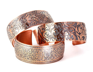 Pure copper cuffs with antique designs