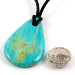 Very large Kingman turquoise nugget pendant on leather cord