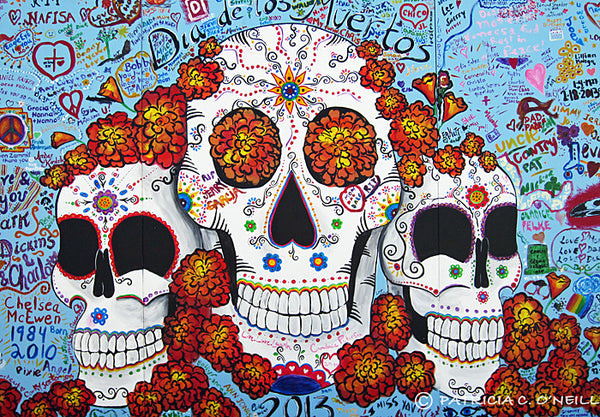 Day of the Dead wall painting in Tlaquepaque, Sedona AZ