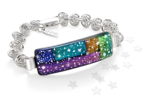 Chain mail bracelet and dichroic glass cabochon by Invincible Art STudio