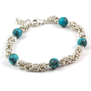 Byzantine bracelet sterling and Kingman turquoise beads