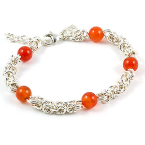 Byzantine bracelet sterling and orange carnelian beads