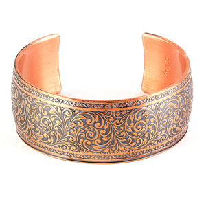 Sealed pure copper cuff with vintage arabesque design. Limited edition.