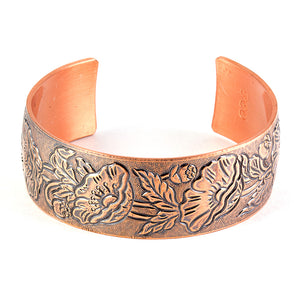 Sealed pure copper cuff with vintage poppies design. Limited edition.