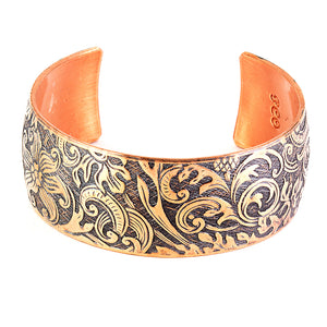 Sealed pure copper cuff with vintage wild flower design. Limited edition.