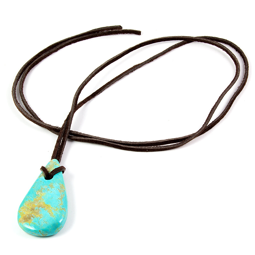 Top Large Kingman turquoise nugget pendant on leather cord  BZ65