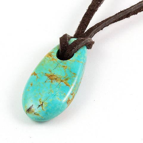 Long Kingman turquoise nugget pendant on leather cord