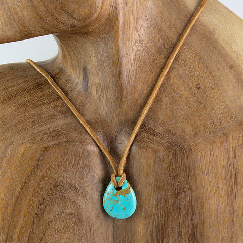 Small Kingman turquoise nugget pendant on leather cord