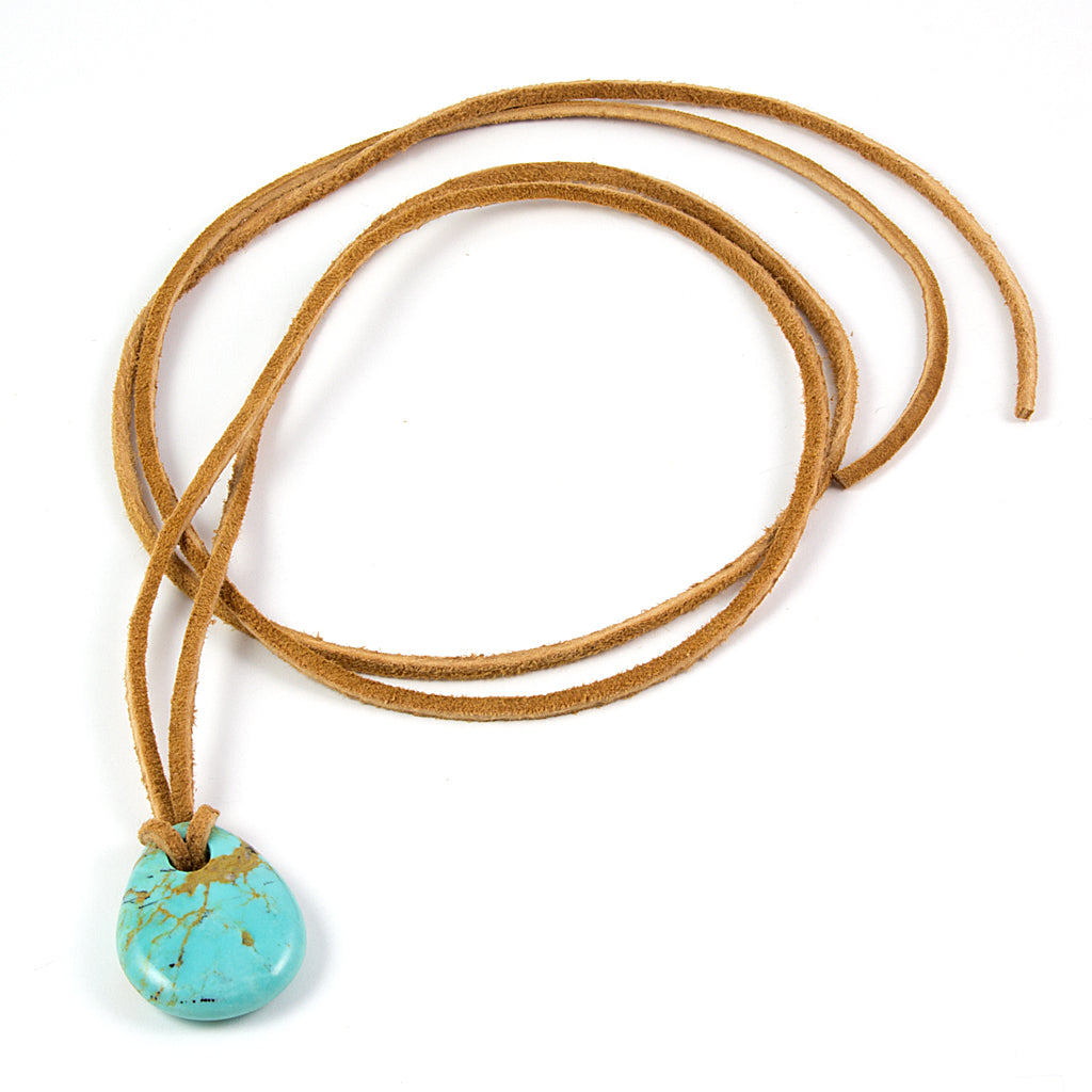Fantastic Small Kingman turquoise nugget pendant on leather cord  QN05