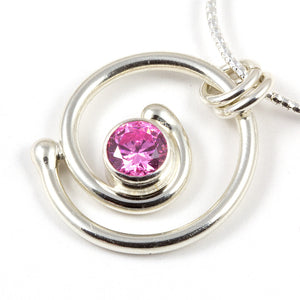 Pink diamond silver spiral w/chain by Invincible Art jewelry